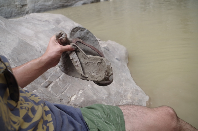 The thick mud of the RIo Grande tried to take my sandals hostage.