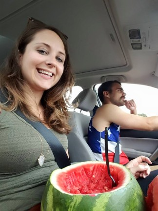 This is not the first time we've cut into and eaten nearly an entire watermelon in the car - it's honestly great road trip food as it feeds and hydrates in one step.  Yum!